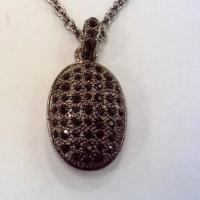 Wholesale (N-78) New Style Jewelry Pave Black Cubic Zircon Oval Charm Necklace 18 inches from china suppliers