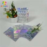 China Stand Up Customized Makeup Organizer Bag One Side Clear Holographic Laser Packaging for sale