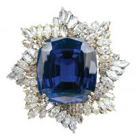 Wholesale 925 Silver Blue Rhinestone Brooch Unique Handcrafted Jewelry for Anniversary Gift from china suppliers