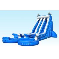 Wholesale Blue 22 ft Dolphin Double lane Cali Ocean Inflatable Water Slides with PVC Tarpaulin Material from china suppliers