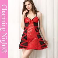 Quality Black Red Lace Transparent  Mature Women Young Girls Sexy Lingerie Chemise Underwear for sale