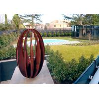 Buy cheap Various Size Hollow Corten Steel Sculpture Rusty Metal Garden Ornament Egg Shaped from wholesalers