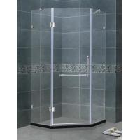 Frameless 8 / 10 MM Glass Shower Screens Clear Tempered With Stainless Steel Two Support Bars for sale