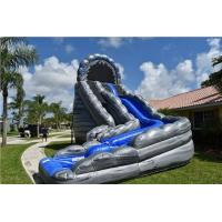 Wholesale Commercial Blue Huge Inflatable Slides Logo Printing Wild Rapids 24ft Dual Lane Slide With Pool from china suppliers