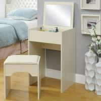 Quality White Storage Desk Home Wood Furniture With Lifted Mirror / 6 Knock Down Shelves for sale