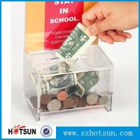 Wholesale Acrylic Clear Donation / Ballot Box with Lock and Sign Holder Transparent Acrylic Ballot Box from china suppliers