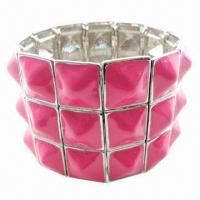 Wholesale Stretch Metal Bracelet with Resin Stones, Nickel- and Lead-free from china suppliers