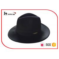 China Wool Felt Cowboy Hats / Black Cowboy Hat With Customized Metal Label on sale