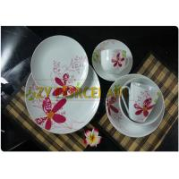 Freezing Resistance Ceramic Coupe Dinnerware Sets , 12 Piece Round Coupe Plate Serve For 4 People for sale