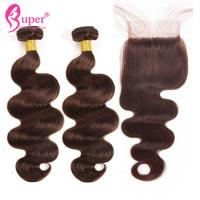 Wholesale Dark Brown Color 4 Human Hair Weave Extension With Closure Body Wave from china suppliers