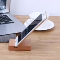 Wholesale Solid Wood Desk Organizer For Phone / Pad , Wooden Phone Stand Cubic from china suppliers