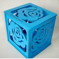 Wholesale self assembled wood box blue painted plywood gift box with rose pattern from china suppliers