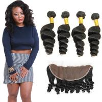 Wholesale Authentic 8A Loose Curly Indian Remy Hair Weave 4 Bundles With Frontal from china suppliers