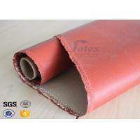 China 1200 Degree Silicone Coated Glass Cloth , Heat Resistant Fabric Fiberglass on sale