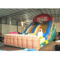 Inflatable the farm themed standard dry slide top inflatable dry commercial slide for children under 15  years for sale