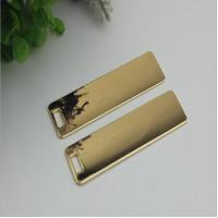Super quality custom handbag hardware gold 70 mm length rectangle shape metal logo plate without letters for sale