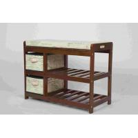Wholesale Walnut Classical Modern Wood Furniture Shoe Storage Bench Seat With 2 Fabric Drawers from china suppliers