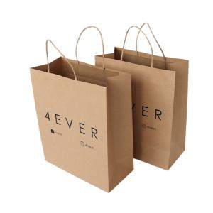 China Wholesale China Gift Craft Brown Printed Kraft Paper Bags With Logo on sale