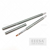 Wholesale Grey Long Metal Handle Acrylic Building #2 Square Flat Poly Gel Nail Brush from china suppliers
