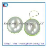 Wholesale Durable ball shape tin box with a hanging ribbon from china suppliers