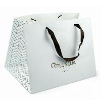 Cheap gold foil makeup paper bag white craft square base paper bag