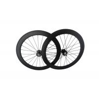 Quality 700C Track Carbon Disc Wheel T700 , 23mm Width Fixed Gear Bike Wheels Tubular Clincher for sale