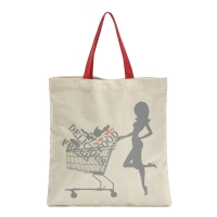 China Red Handle Beige Shopping 8oz Cotton Tote Bags on sale