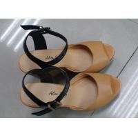 China Stylish Wedge Heel Womens Strappy Leather Sandals on sale