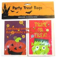 China Halloween CPP plastic Cello Treat Bag with black twist ties,Pumpkin Bag Kids Candy Bag For Children Handhold bag Festiva on sale