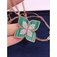 Wholesale Roberto Coin 18K VENETIAN PRINCESS MEDIUM FLOWER MALACHITE & DIAMOND NECKLACE from china suppliers