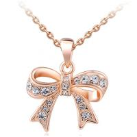 Wholesale Rose Gold Zircon Fashion Jewelry Pendants Silver Base Butterfly Bow from china suppliers