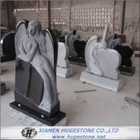 Elegant Goddess Lying on Absolute Black Granite Tombstone, Delicate Carving Monuments for sale
