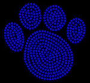 China Animal/Paw - Paw Print - Cobalt - Rhinestone Transfer on sale