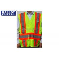 Quality Steel Industrial High Visibility Safety Vest , Red / Green Reflective Safety Jacket for sale