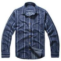 Wholesale Classical Blue Vertical Stripes Cotton Shirts (LC-666) from china suppliers