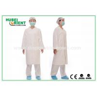 China Tyvek disposable white lab coats , medical protective clothing Korean Collar and Zip on sale