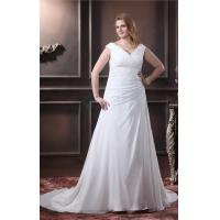 Wholesale Elegant A Line V Neck Ruffle Wedding Dress Beading Chiffon Plus Size Designer Wedding Gowns from china suppliers