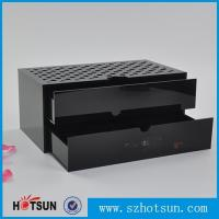 Wholesale Custom made acrylic storage box cost-effective black acrylic box with two drawer from china suppliers