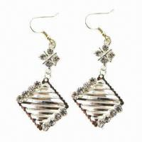 Wholesale Fashionable Drop Earrings, Made of Alloy, Decorated with Rhinestones from china suppliers