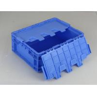China Hinged Lids Plastic Storage Tote Boxes Blue Color Stacking Turnovers for sale