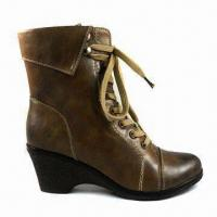 China Stylish Women's Dress Boots with Shoes Laces and Middle High Heels, Made of PU on sale