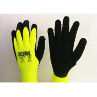 China Fluorescent Yellow Latex Palm Coated Gloves , Rubber Coated Gloves Knit Wrist Type on sale