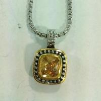 Wholesale (N-62) Fashion Jewelry Two Tone Silver Plated Citrine Cubic Pendant Necklace from china suppliers