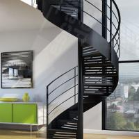 Wholesale Indoor / Outdoor Powder Coated Black Metal Spiral Staircase Price / prefab Stairs from china suppliers