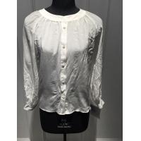Wholesale White Silk Shirt Blouses , Breathable Women Long sleeve crew neck  Blouses from china suppliers