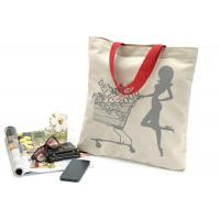 China Canvas portable shopping bag with shoulder belt , printed reusable shopping bags on sale