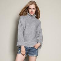 China High Neck Design Wool Sweaters Womens Loose Fit Grey Cashmere Sweater on sale