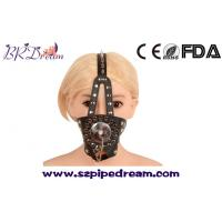 Wholesale Spike head leather harness mask hood mouth gag cover slave bondage restraints bdsm fetish toys adults from china suppliers