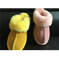 Wholesale Tan Suede Sheepskin Slippers Winter Women Cow Suede Sheepskin House Slippers from china suppliers
