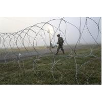 China Roll Type Razor Barbed Wire Fence Fixed With Clips Single Or Cross Coil on sale